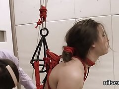 Horny nympho is brought in ass hole assylum for harsh cure-all