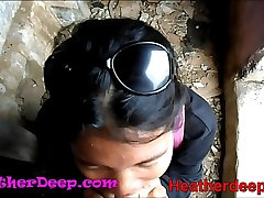 HD Heather Deep explores trail in jungle and win creamthroat in debauched toilet