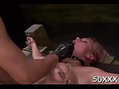 Tight bawdy cleft gets stretched, penetrated and screwed hard
