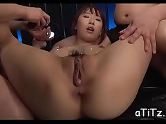 Gorgeous asian playgirl gives salacious and wild titty fuck