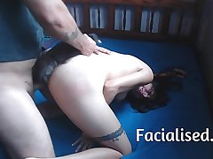 Amateur Latina gets fucked and gets a facial