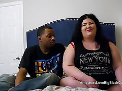 Chunky BBW pounded hard by two chubby black cocks