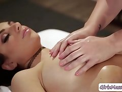 Horny Masseuse Maddy eats Darcies pussy