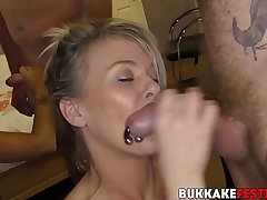 Cock hungry gals services beamy dicks at a bukkake have a passion fest