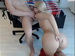 Naughty blonde sucking dick on webcam - more to hand AngelzLive.com
