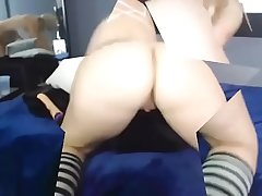 Young sexy blonde in pigtails uses A toy In Her perfect Pussy 18flirtCom