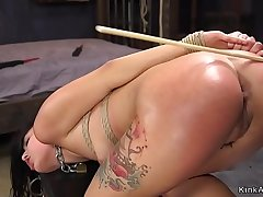 Long haired babe caned added to finish feeling fucked