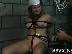 Non-professional bondage xxx pussy play with coarse toys