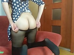 Solo cissified masturbation in dress and pantyhose