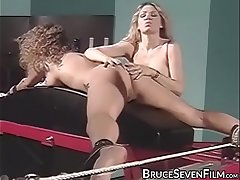 Stockings clad blonde whipped while teasing hop sub