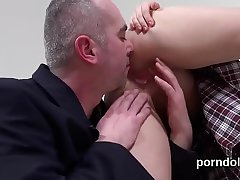 Ideal schoolgirl gets seduced and penetrated by senior mentor