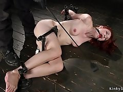 Gagged and bound on burnish apply floor whipped