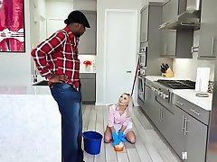 Chloe Temple In Cleaning Lady Cum Pail