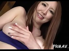 Excited asian toys own cunt while giving wet blowjob
