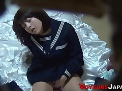 Uniformed asian spoil rubs