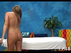 Legal age teenager with a juicy butt gets nailed during a massage