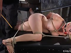 Blonde butt plugged gets pussy toyed