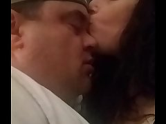 Kissing Goodnight...hot loving amateur couple passionately kissing
