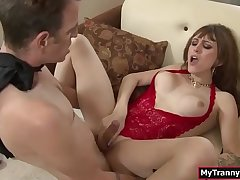 Busty Tgirl sucks and analed by big cock