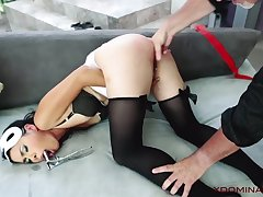 Exotic MILF analyzed by master in the living courtyard