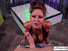 Hot MILF Jessica Jaymes giving the best blowjob of your life, big boobs - The Stripper Experience