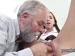 Lovely college girl is seduced and screwed by grey schoolteacher