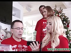 Cute And Tiny Teen Step Sister Riley Mae And Her Step Brother Have sex During Family Christmas Photo