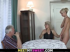 Horny mom licks her young pussy convulsion old dad fucks