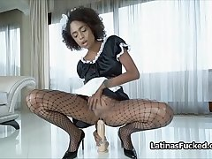 Exotic maid switches fat dildo for chunky cock