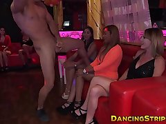 Hot amateur rides strippers dick while her friend queens him