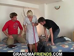 Very old granny swallows two young cocks