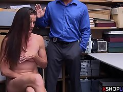 Nervous slender MILF busted and smashed by security